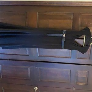 Long black evening gown with satin sash size 4